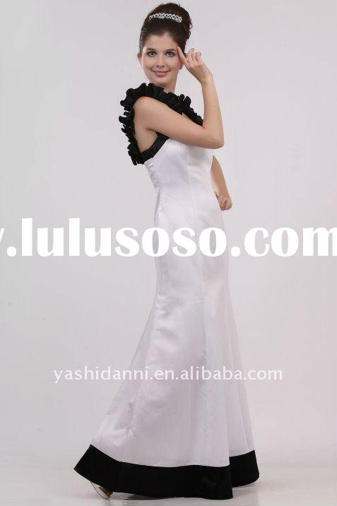 Playful Classic White & Black Strapless Mermaid Formal Dress Evening Gown maid of honor dress