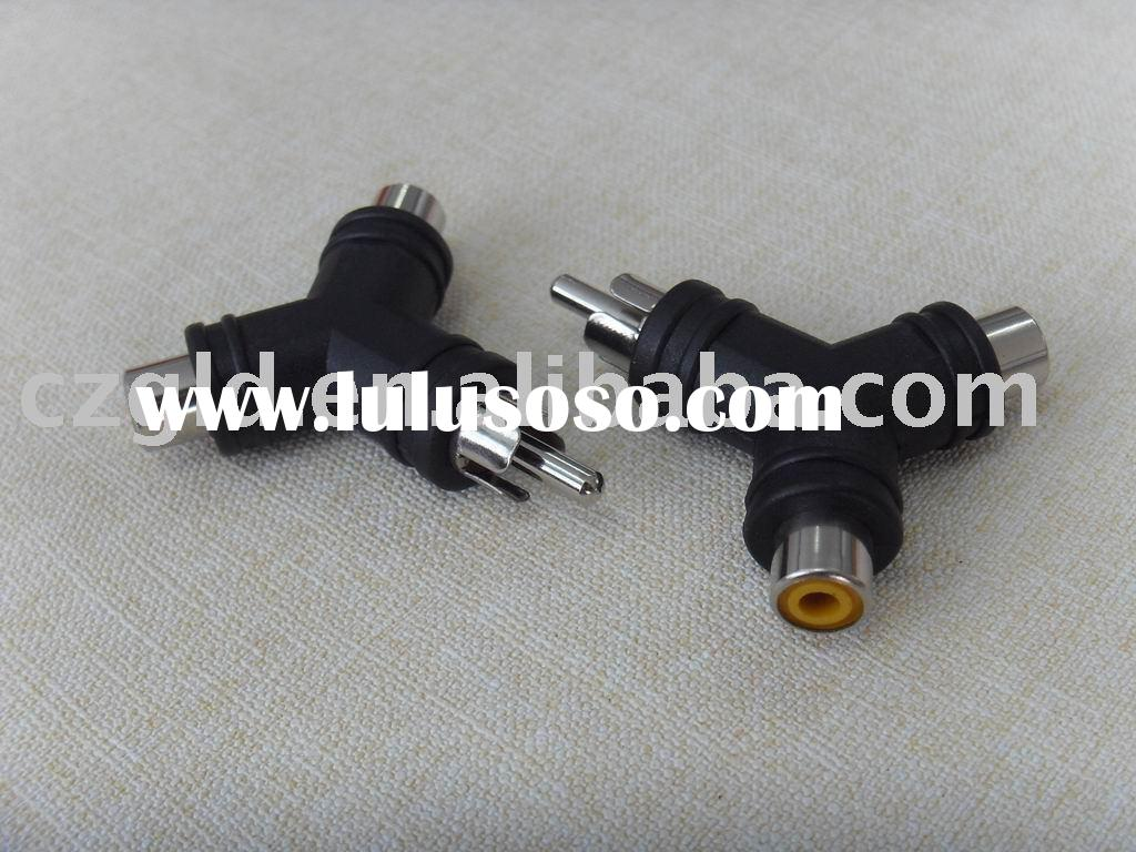 Rca male ABS material rca plug to dual rca jack Y TYPE