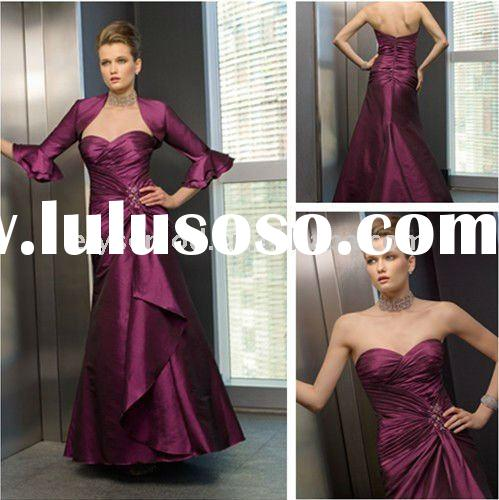 Vintage Sweetheart Plum Taffeta Mother of the Bride Suits With Long Sleeves