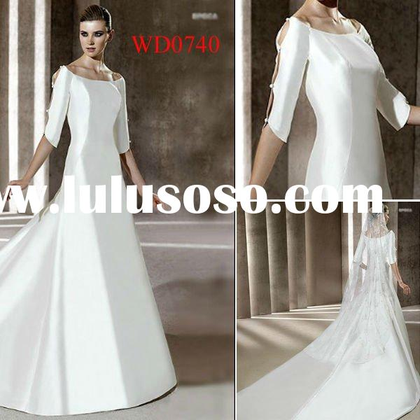 WD0740 2012 Taffeta Long Sleeve Fashion Inexpensive Wedding Dresses