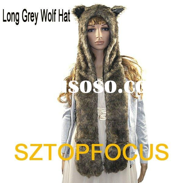 WINTER HOODED FAUX FUR ANIMAL HATS GREY WOLF DESIGN