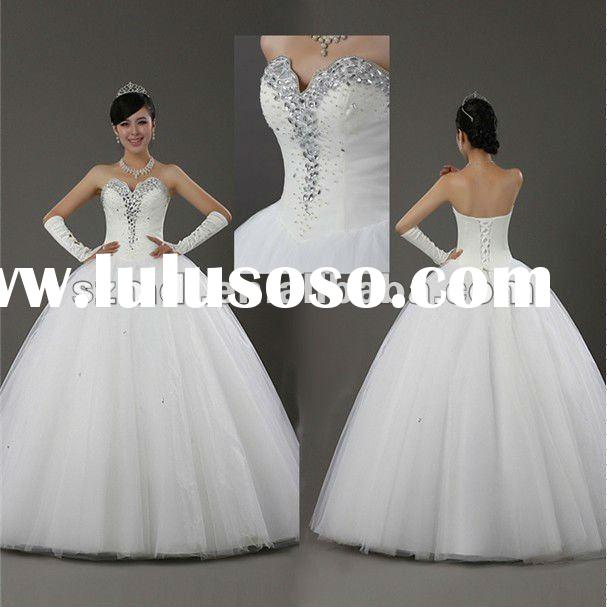 White Organza Sweetheart Neck Sequins Beaded Sheath Lace-Up Back Puffy Hemline Wedding Dres 2012