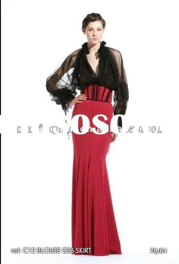 ZMS020 Designer black top red skirt long sleeve evening dress fashion 2012