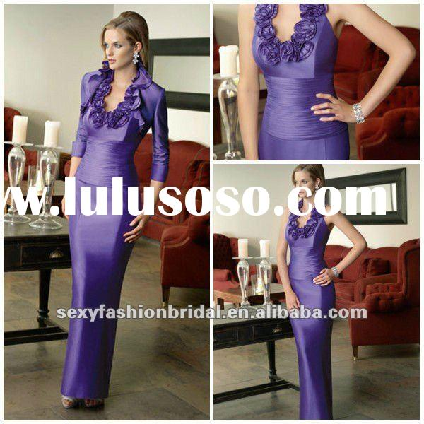 elegant style halter flowers accented fitting bodice column purple mother of the bride dresses suits