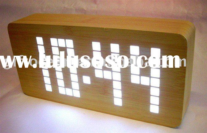 latticed LED wooden clock(date temperature display)