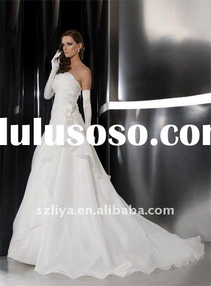 new arrival A-line off shoulder satin wedding dress with sleeves