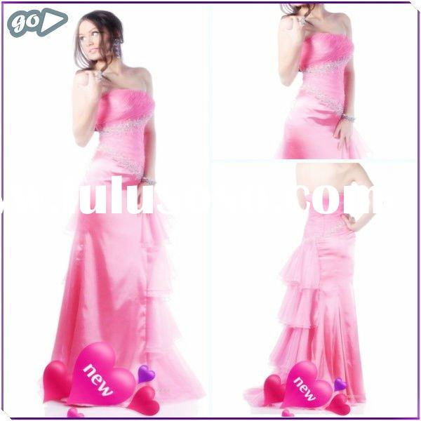 2012 New Cheap Beautiful Strapless Sheath Beaded Ruffle Satin Discount Lowes Prom Dress