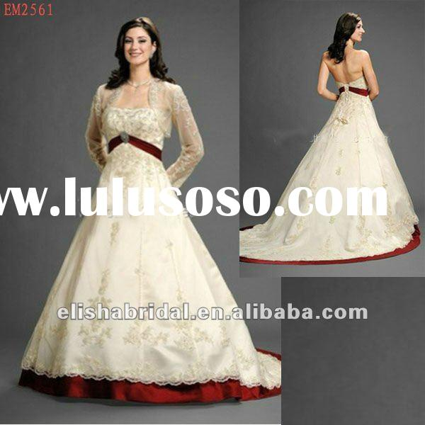 Ball Gown Ivory And Wine Empire Waist Tulle And Matte Satin Long Sleeve Lace Wedding Dresses