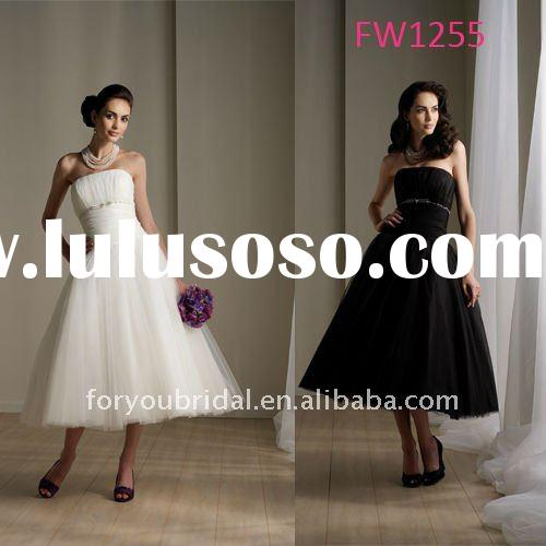 FW1255 Custom Made Sleeveless Tea Length Black Wedding Dress