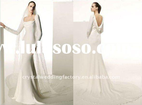 For sale appliqued A-line chapel train custom-made long sleeve wedding gown CWFaw1389