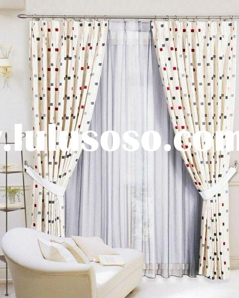 High Quality 2 Layers Window Curtain ( Jacquard Polyester+Sheer Organza )