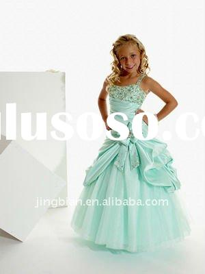 Hot Sell Strapless Beaded Girls party dresses 2012 Pop Flower Girl Dress Child Clothes Fantastic Kid