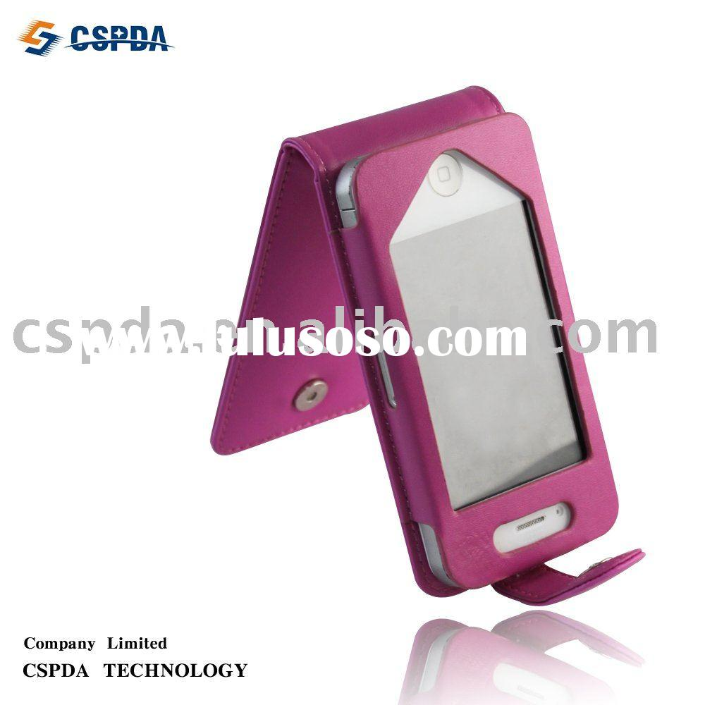 New top premium pink genuine leather cases for iphone 4