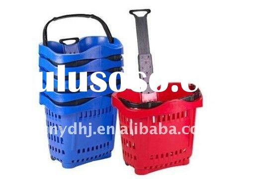 Portable Plastic Shopping Trolley With Two Wheels