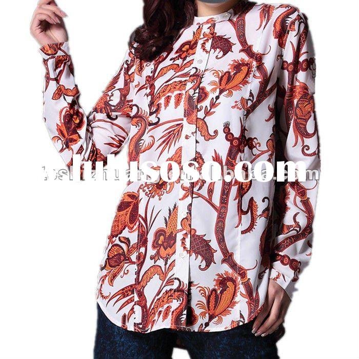 Small MOQ,100%silk turndown collar body cutting casual printing spring ladies blouse