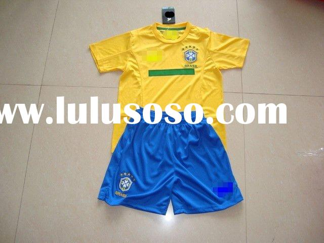 Top quality Brazil soccer kid jersey,children football kit,paypal accept