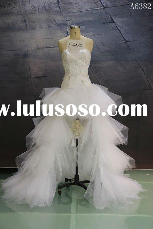 (A6382) Guangzhou Stephanie 2012 Newest style Creative Design Short Front Long Back Wedding Dress