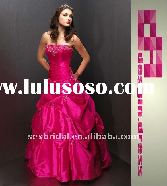 beautiful hot sale pink beaded embroidery applique strapless in stock party gown evening dress forma