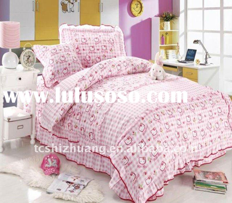 hot sell!! 100% cotton hollo kitty cartoon printed children bedding set