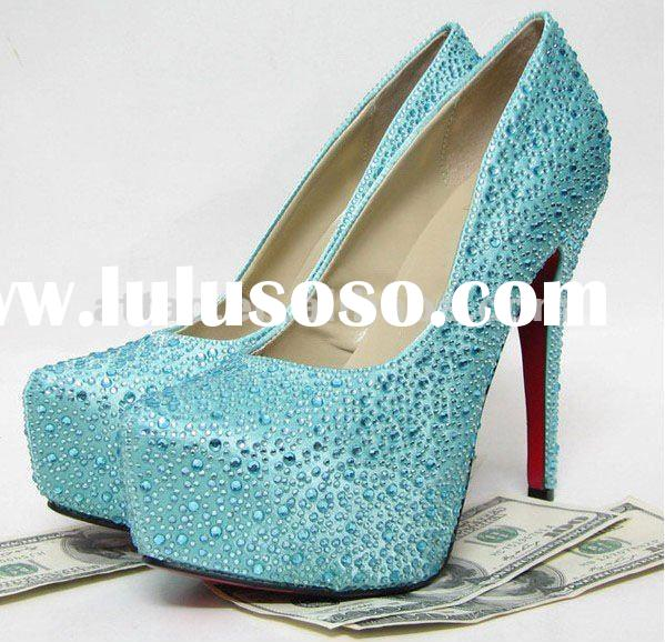 light blue 16cm diamond high heels