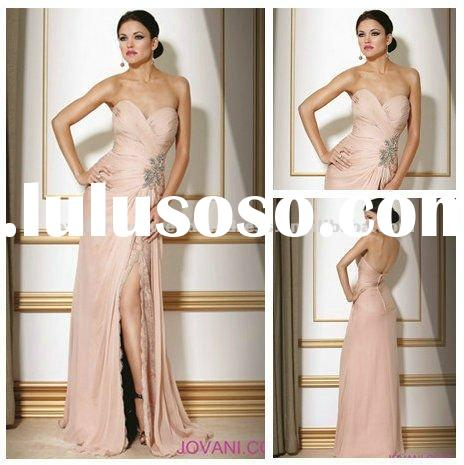 2012 Long Chiffon Lace Evening Gown Champagne Color