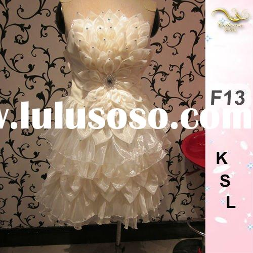 2012 New Chiffon Prom Dresses White Beaded Feather Dresses Short D-F13