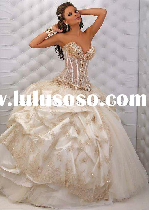 Best Selling top Fashon Style New Strapless Nice lace beaded Latest wedding dresses 2012