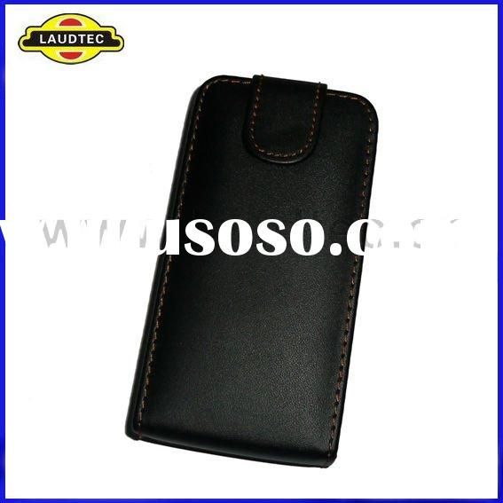 Black Leather Flip Case Pouch Cover for Samsung Galaxy Ace Plus S7500,Laudtec