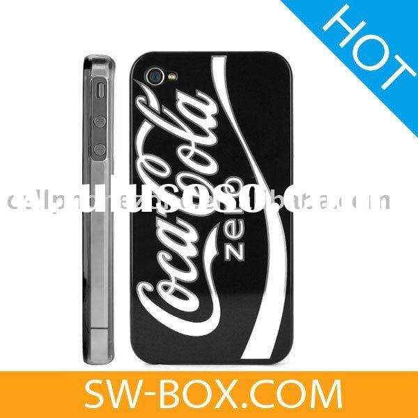 CocaCola Zero Hard Case Cover With Transparent Side Design for iPhone 4 (Black)