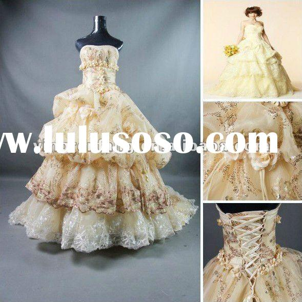 Custom Made 2012 Fashion light yellow tulle satin Ball Gown Sweetheart lace trim Beaded sequins Flow