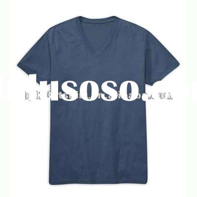 Custom Private Label 100% Cotton Deep V Collar T-Shirts for Men and Women