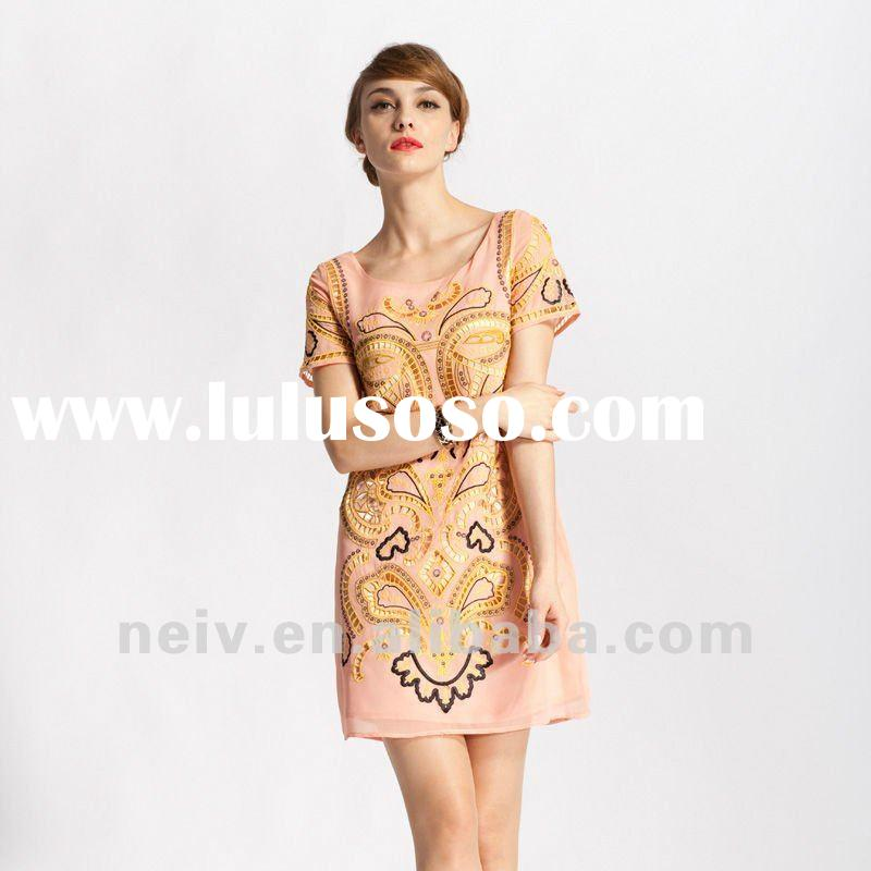 Embroidered dress,loose fit,S16003
