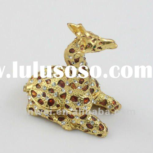 Fashion Metal Alloy Rhinestone Giraffe jewelry trinket box JB31045