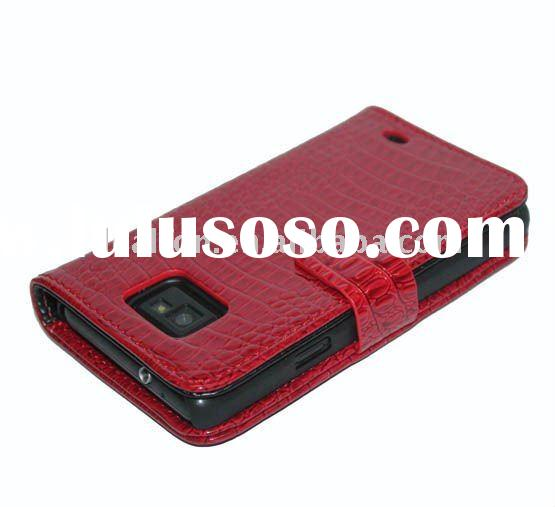New For Samsung Galaxy S2 i9100 Leather Case horizontal Design red