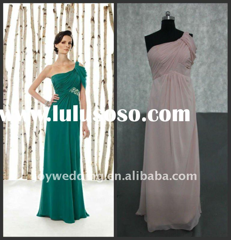 PD109 Free shipping 2012 Real sample pink color one shoulder lace mother of the bride dresses 2011