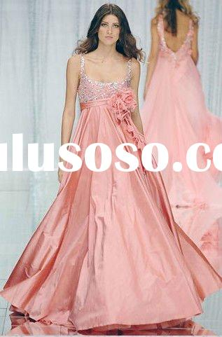 Pink spaghetti strap backless empire waist maternity wedding party dress