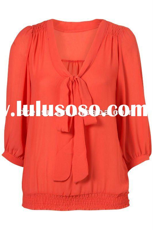 Plus Size Clothing, 2012 Fashion Bow Tied Neck Design of Top /Blouse