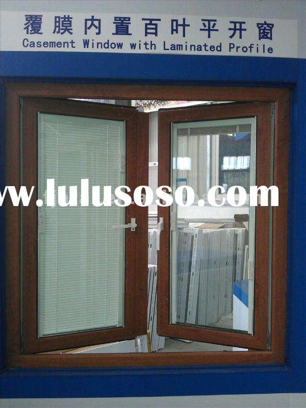 UPVC wood grain casement windows,PVC louver windows,insulated glass with venetian blinds