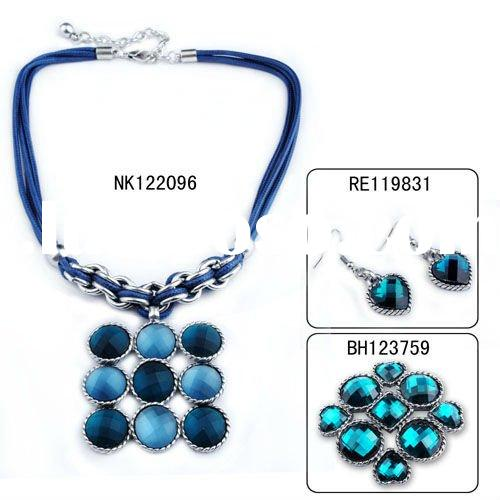 Vintage silver plated big pendant rope jewelry set necklace bracelet earrings and brooches