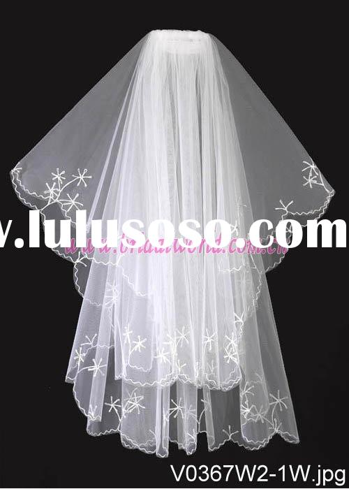 Vintage wedding veils with starfish embroidered edge