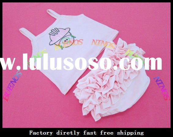 Wholesale - 2012New Fashion(top+cotton ruffle pants ) Baby Clothing Set InfantClothes Kids Wears Bab