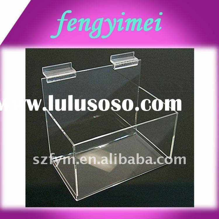 clear slatwall acrylic cube bins/transparent plexiglass wall mounted display case/acrylic wall mount