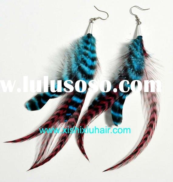 wholesale 2011 hot selling real feather earring