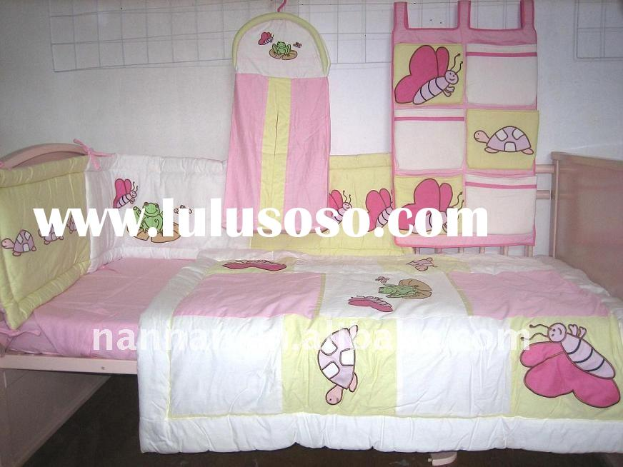 100%cotton 6pcs pink patchwork butterfly embroidery baby cot bedding set