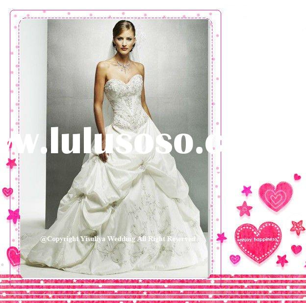 2012 Fashion Strapless Taffeta A-line Pick-up Bridal Gown