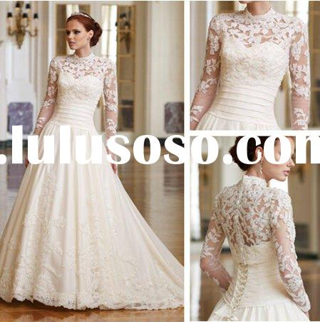2012 New Fashion WD3129 A-line Lace Long Sleeve Wedding Gowns