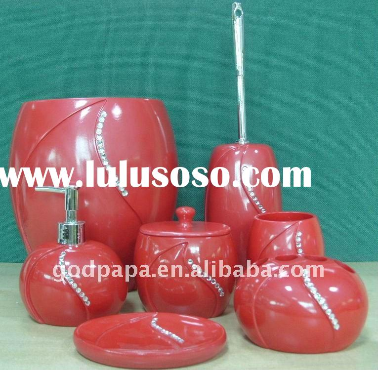 7pcs polyresin red bathroom accessories set with diamonds