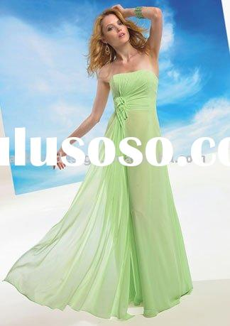 BD278 2011 hot seller strapless chiffon light green bridesmaid dresses