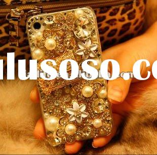 Bling flowers cases for Apple Iphone 4 4S 4GS accessory