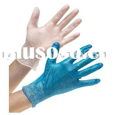 Clear/ blue color examine use disposable vinyl glove